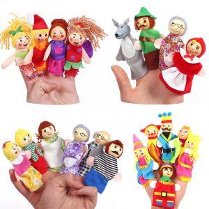 Jul 7 typer familje finger dockor uppsättning mjuk duk docka för barn barn gåva plysch leksaker