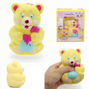 Xinda Squishy Strawberry Bear Holding Honey Pot 12cm långsammare med Packaging Collection Present Toy