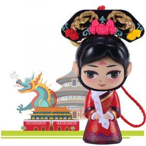 Kinesisk Förbjuden Stad Drottning Ansikte Byter Docka Leksaker Presenter Bil Dekoration