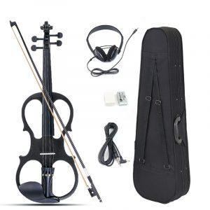 4/4 Electric Violin Full Size Basswood med Anslutningslinje hörlurar och fodral för nybörjare