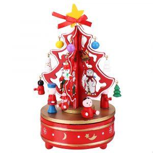 21 * 11cm trä jul musik låda vind-up leksaker karusell musikalisk låda gåva samling