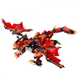 MoFun Red Battle Dragon 2.4G 4CH RC Robot Infraröd Kontroll Block Building Monterad Robot Toy Gift