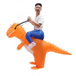Jul uppblåsbara leksaker kostym vuxen t-rex dinosaur kostym blowup drake ridning outfit