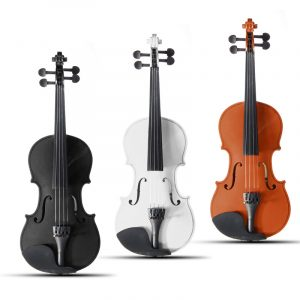4/4 Full storlek Basswood Natural Acoustic Violin Fiddle med Case Rosin Bow Flerfärg