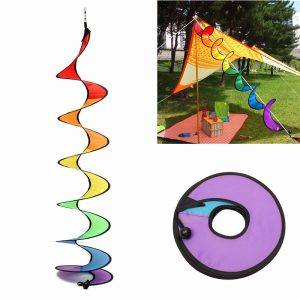 110cm Rainbow Spiral Curlie Tail Windmill Färgglada Wind Spinner Tent Garden Decoration