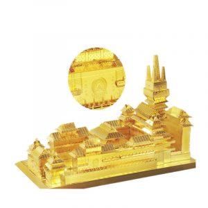 MU DIY 3D Metal Jing'an Temple 165 * 97 * 98mm Pussel Modell Leksaker Guldfärg barns Vuxen Samling Gåva
