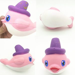 Squishy Slow Rising Kawaii Whale Soft Squeeze Gullig Dolphin Cell Phone Strap Bröd Tårta Stretchy Toy