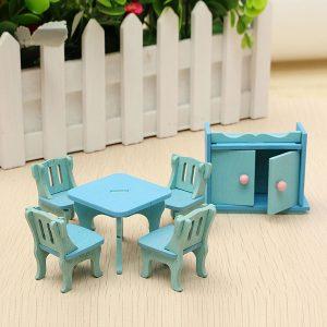 Trä Dockhus Möbler Dockhus Miniatyr Dinning Room Set barns Rollspel Toy Kit