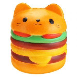 11 * 10cm Squishy Söt Hamburgerkatt Slow Rising biltoon Scented Bröd Mjukt Roligt Toy
