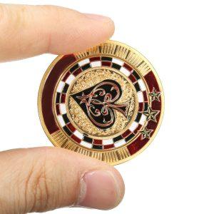 Metal Poker Guard Card guldpläterad med rund plastfodral Protector Coin Chip