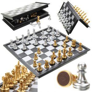 Chess Game Silver Gold Pieces Vikbar magnetisk hopfällbar styrelse samtida uppsättning
