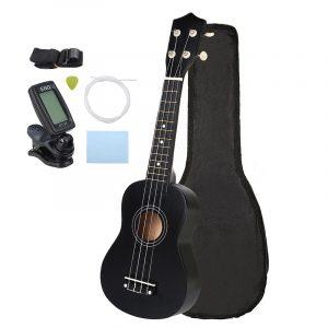 21 tums ekonomisk sopran Ukulele Uke musikinstrument med gig bag Strings Tuner Black