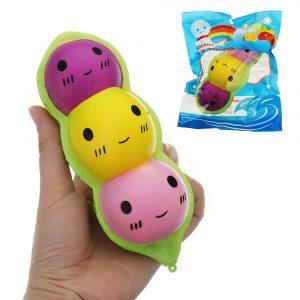 Färgglada Ärt Docka Squishy Charm 15cm långsammare med Packaging Collection Present Soft Toy