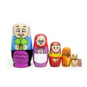 6st Russian Wooden Nesting Docka Lycklig Family Handcraft Decoration Christmas Presents