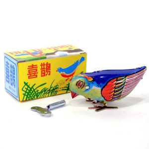 Vintage Wind Up Bird Pecking Tenn Mekanisk Toy