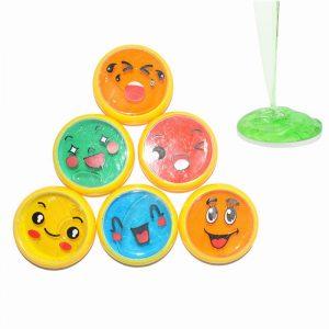 6PCS Emoji Face Slime 6cm DIY Crystal Clay Gummi Mud Intelligent Hand Gum Plasticine Toy Gift