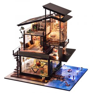 T-Yu Dockhus DIY Valencia Coastal Villa Dockhus Miniatyr Möbler Kit Collection Gift