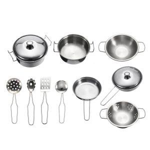 10pc Rostfritt stål Köksartiklar Kök Matlagningsset Pot Pans House Spela Leksak För Barn