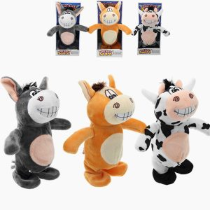3PCS 20cm Talking Donkey Fylld Animal Cow Walking Elektronisk Flyttande Cow Soft Toy Kids Gift