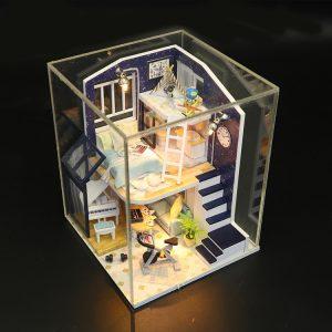 Hoomeda M041 DIY Dockhus Skinnstjärna Med Skydd Miniatyr Inredning Musik Ljus Presentkort Leksaker