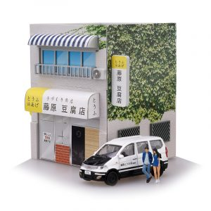 1/64 Initial D Tofu Shop med LED-ljus Yumebox Display Scene Tomica DIY Action Figur Kit Toy