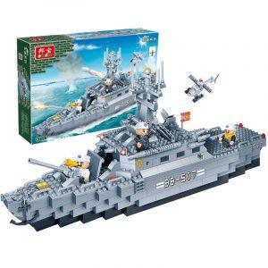 Militär Fregatt krigsfartyg Flygplansbyggnadsblock Leksaker Tegelstenar Kompatibla Med Le går