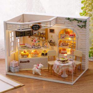 CuteRoom H-014 Cake Diary Shop DIY Dockhus Med Music Cover Light House Model