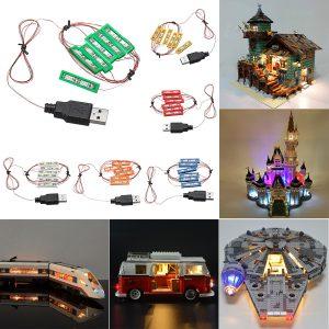 Universell DIY LED Ljus Tegel Utrustning för lego MOC Leksaker USB Hamn Blockera Tillbehör Dekor