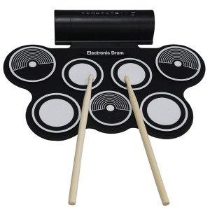 KONIX bärbar rulle upp USB MIDI elektronisk trumma 7-pads Inbyggd högtalare för barn Nybörjare MD759