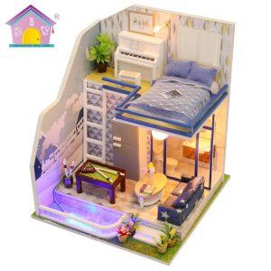Hoomeda M042 DIY Dock House Miniatyr Möbel Kit Modell Safir Kärlek 21CM Collection Gift