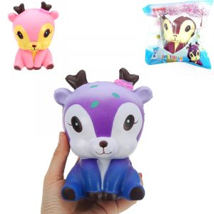 Galaxy Deer Docka Squishy 14,3 * 11,3 * 9,7cm långsammare med Packaging Collection Gift Soft Toy