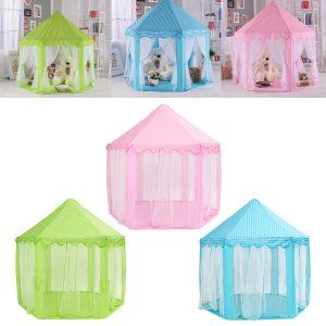 Portable Princess Castle Spela Tält Aktivitet Fairy Fun Play House Toy 55.1x55.1x53.1 Inch