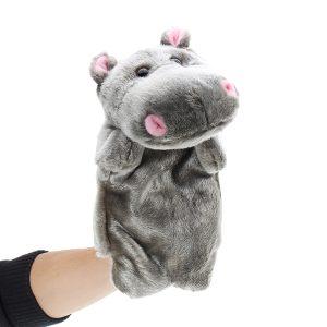 27cm Baby Plush Leksaker Gullig Cartoon Hippo Hand Docka Baby Barn Docka Plush Toy Hand Dockaar