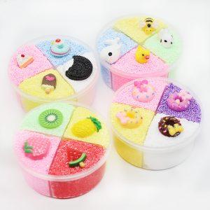 Fyra färger Slime Unmixed Frukt Dessert Djur Snow Rice Cotton Mud Clay 120ml