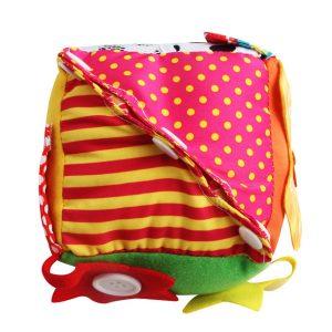 Kids Fidget Cube Pussel Cube Educational Toy Zip Snap Button Spänne Spets Lär dig att Klä