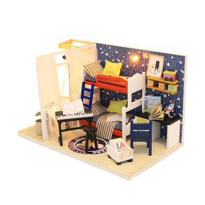 Hoomeda S901 DIY Dockhus Framtida Space Miniatyr Inredning Med Cover 18CM