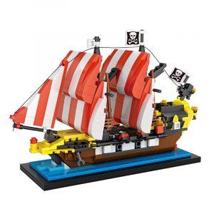 Pirates Båt Modell Blockera Leksaker Tegelstenar 653PCS 17.3x11.3cm Konstruktion Vuxna Ungar Samling Leksak