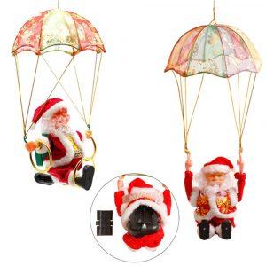 Santa Claus Ornament Hängande Fallskärm Slå Cirkel Akrobatik Fylld Plush Toy Jul Dekoration