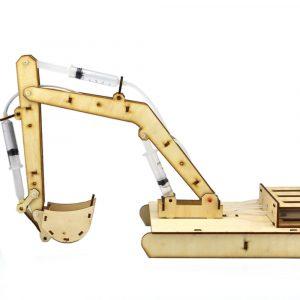 DIY STEAM Trä Hydraumatic Grab Digger RC Robot Toy Utbildnings Kit