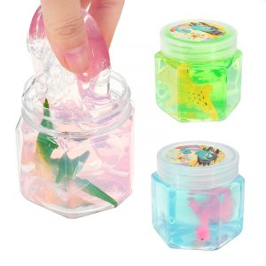 Dinosaur Animal Crystal Mud Hex Bottle Genomskinlig Slime DIY 5,5cm * 5,7cm Plasticine Toy Gift