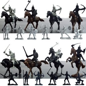 28PCS Diecast Medeltida Knights Warriors Hästar Soldater Figurer Playset Kids Toy Gift Decor Collection