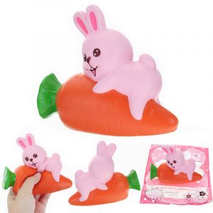 YunXin Squishy Rabbit Bunny Holding Gulrot 13cm Långsam Rising Med Packaging Collection Gift Decor Toy