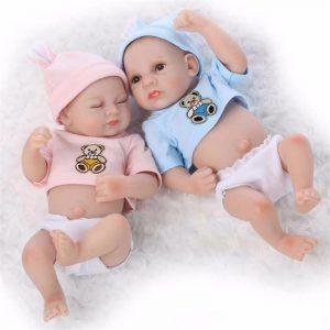 Sleeping Mini Twins Reborn Baby Dockas 11 tums Full Silicone Nyfödda Babies Sova Tjej och Pojke
