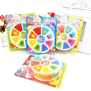 3D Fruit Slime 8 färger DIY Crystal Gelé Clay Gummi Mud Intelligent Hand Gum Plasticine Toy Gift