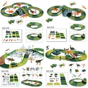Dinosaurie Dino Värld Barnens Flexibla Lopp Bil Mast Leksaker Bygga Spela-Uppsättning Leksak