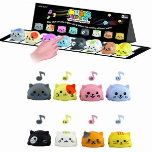 MOEYOUTH Musical Scale Cat Touch Sensitive Musical Toy Piano Learning Funny Novelties Leksaker med packbox