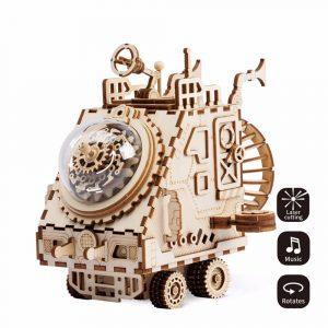 DIY 3D Trä Chip Pussel Musik Box Leksaker för Kids DIY Hantverk Prydnad