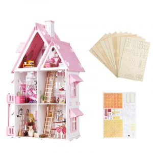 Iiecreate Stort trä barn Dockhus Kit Girls Spela Dockhus Mansion Furniture