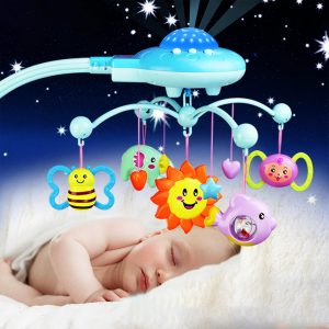 Crib Mobile Musical Bed Bell med Animal Rattles Projektion Early Learning Leksaker 0-12 månader