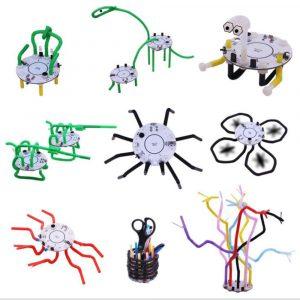 101 DIY Halmrobot Smart Robot Light Voice Touch Control Utbildnings Toy Robot För Barn